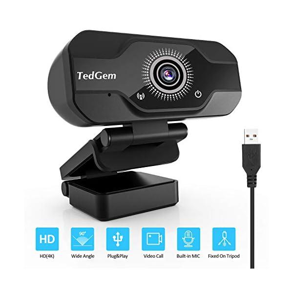 TedGem Webcam, Full HD 4K/1080P PC Webcam Camera con Microfono USB Live Streaming Webcam per Videochiamate e… 1 spesavip