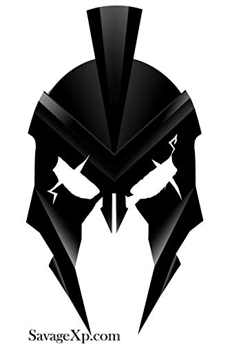 SAVAGE XP Black Spartan Helmet Sticker 18 Pack | Car Window Decal Stickers Sheet Large & Small 6 inch to 1/2 in | Support US Veterans