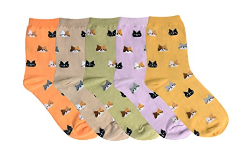 YourFeet Women's 5 Pack Cute Cat Socks Cotton Casual Funny Crew Socks Gift Size 6-9 (5 Kitty) by KONY (Image #1)