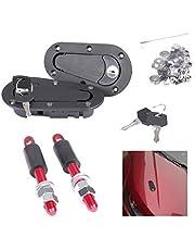 EFORCAR 1 Set Universal Racing Mount Bonnet Plus Flush Hood Latch Pin Key Locking Kit Black