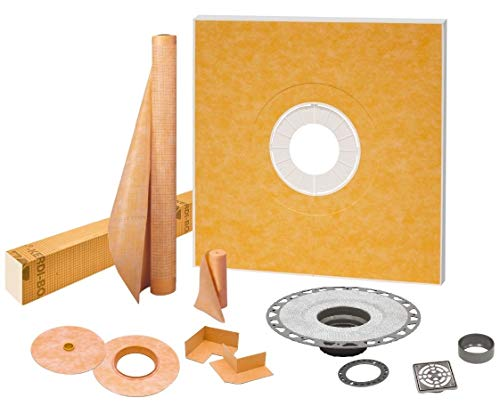 (Schluter Systems KK122PVCE Kerdi 48-Inch x 48-Inch PVC Shower Kit with Stainless Steel Drain)