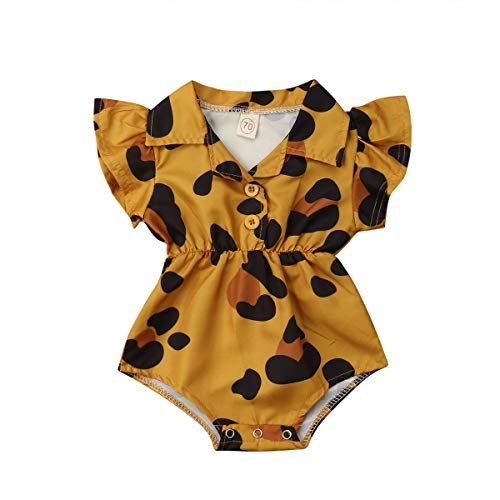 Toddler Newborn Infant Baby Girl Ruffle Blouse Romper Summer Cute Short Jumpsuit Clothes (Mustard Yellow(Leopard), 6-9 Months)]()