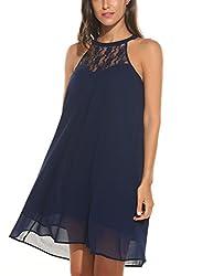 Se Miu Womens Casual Lace Patchwork Halter Mini Chiffon Swing Dress Medium Navy Blue
