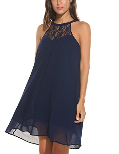Cheap Dress For Sale (SE MIU Womens Casual Lace Patchwork Halter Mini Chiffon Swing Dress, Large, Navy Blue)