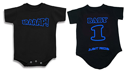 - BRAAAP! Motocross Baby Infant One Piece Creeper Personalized (NB-3 MONTH, LIGHT BLUE)