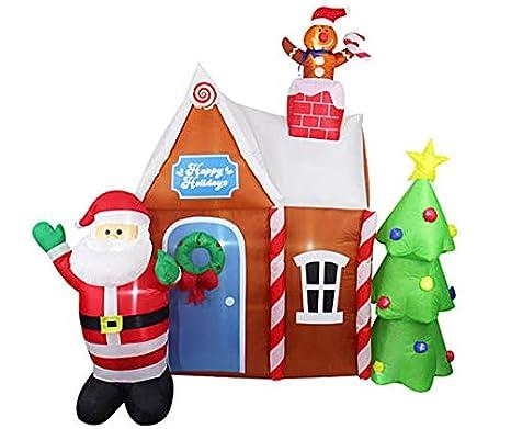 Amazon.com: Casa de jengibre y Papá Noel inflable iluminada ...