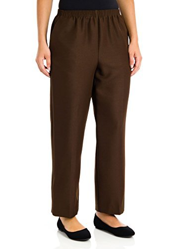 Alfred Dunner Plus Size Basic Polyester Pull-On Pants 09200, Brown, 16 Plus