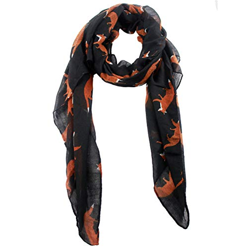 Block Garden Women's Warmer Scarves Fashion Animal Printed Cotton-linen Scarf Wrap (Black) - Linen Cotton Scarf Prints