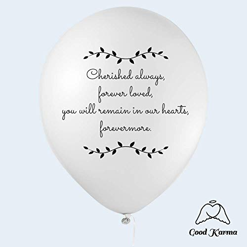 "30 Biodegradable White Remembrance Balloons | Balloon Release Balloons | Helium Quality |""Cherished Always, Forever Loved."" by Good Karma Studio 