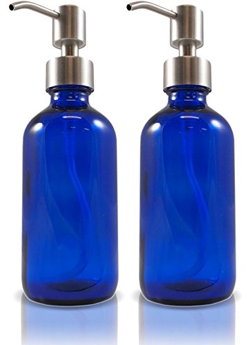 Glass Bottles with Stainless Steel Pump Nozzles (2 Pack); Empty Boston Round Bottles Ideal for Lotion & Liquid Soap (8 oz, Blue)