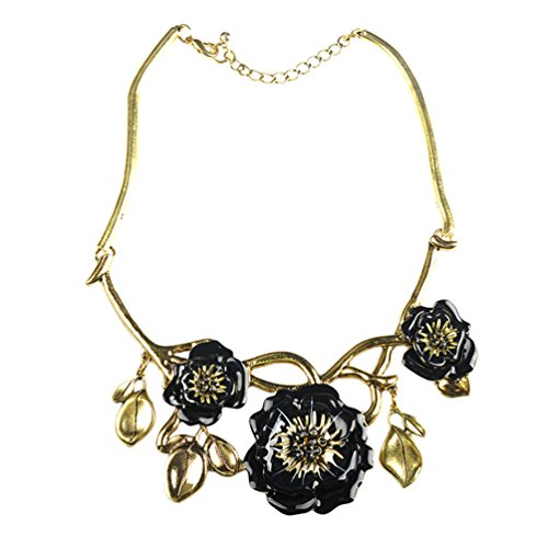 Sweetime Women Fashion Gold Tone Flowers Floral Bib Choker Alloy Necklace (Black) (Bear Arms Costume)