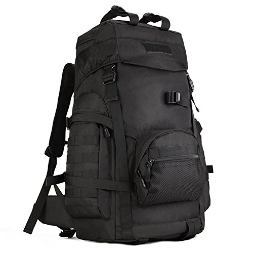 X-Freedom 60L Tactical Large Daypack Hunting Backpack Military Gear Rucksack Waterproof Bag Sport Outdoor Assult Pack For Camping Trekking, Black
