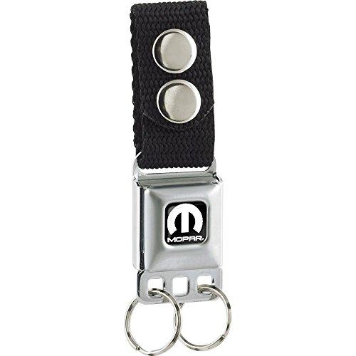 Mopar White M Seat Belt Buckle Keychain (Seat Belt Buckle Emblem)