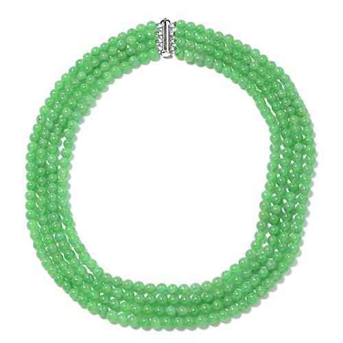 Green Jade Beads Multi Strand Necklace 925 Sterling Silver Jewelry for Women Gift Size 18