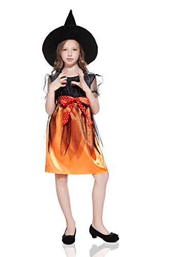 [Kids Girls Little Witch Halloween Costume Magic Sorceress Dress Up & Role Play (3-6 years, black, orange,] (Cute Inexpensive Halloween Costumes For Kids)