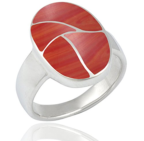 DTPsilver - Bague Femme en Argent Fin 925 avec Corail rouge de forme Ovale