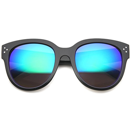 AStyles - Womens Large Oversized Horn Rimmed Audrey Mirror Flash Lens Sunglasses (Black-Blue, - Celine Oversized Sunglasses Black