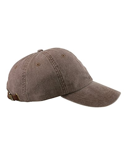 Pigment Dyed Washed Cotton Cap - Adams 6-Panel Washed Pigment-Dyed Cap, Espresso, OS