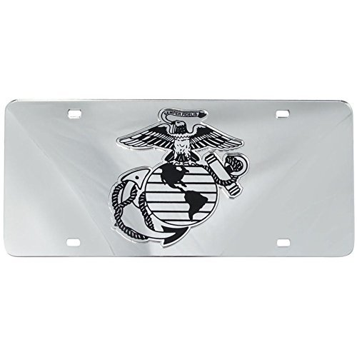 Mirror Inlaid US Marine Corps License Plate - Marines License Plate