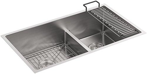 Bowl Kohler (Strive 32 In. 18-5/16 In. Smart Divide Undermount Large/Medium Double-Bowl Kitchen Sink with Basin Rack, Stainless Steel)