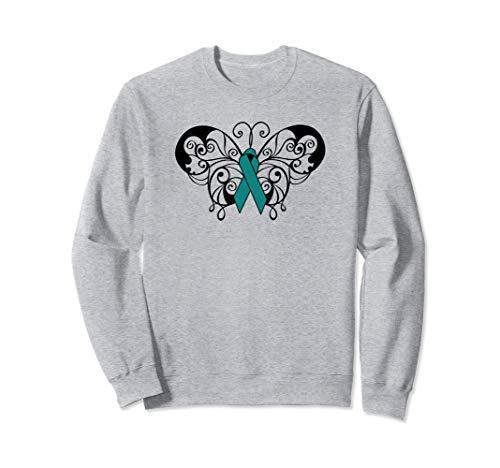 PTSD Awareness Apparel Butterfly Teal Ribbon Men Women Sweatshirt