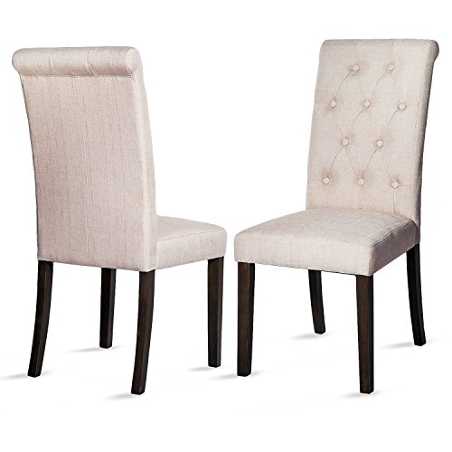 Merax Button-Tufted Upholstered Accent Dining Chair Modern Elegant Armless Chairs, Set of 2 (Beige)