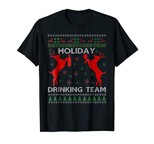 Holiday Drinking Team Reindeer Beer Wine Christmas Tshirt (T-shirt Team Light Drinking)