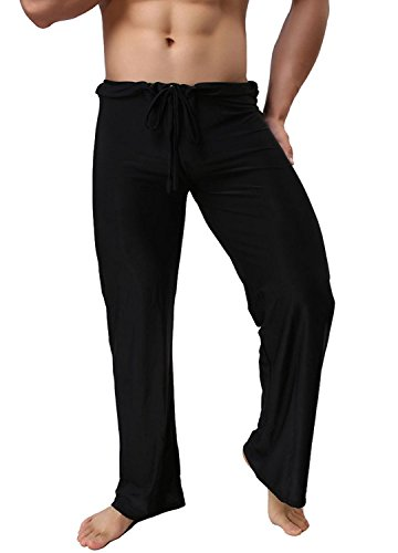 Mendove Men's Yoga Lounge Long Ice Silk Pants (XL, (Black Silk Pants)
