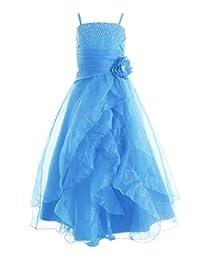 Fashion Plaza Girl's Cascading Crystal Organza Rhinestone Party Pageant Dress K0136