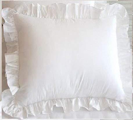 White Ruffle Pillow Shams Set of 2 - Luxury 550 Thread Count 100% Egyptian Cotton Cushion Cover Euro Size Decorative Pillow Cover European Pillow Sham (2 Pack, Euro 28 x 28)