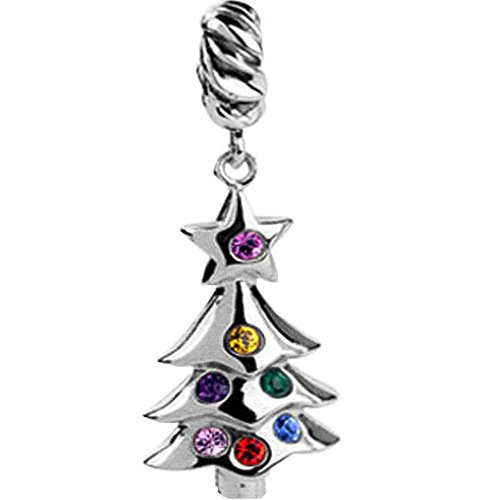 Green Enamel Christmas Tree (Black friday Special, Jovana Sterling Silver Christmas Tree Dangle Bead Charm with Crystals and Green Enamel, fits)