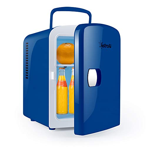 AstroAI Mini Fridge 4 Liter/6 Can Portable AC/DC Powered Thermoelectric System Cooler and Warmer for Cars, Homes, Offices, and Dorms, Blue