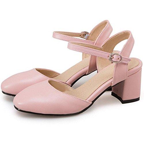 RAZAMAZA Mujer Moda Zapatos de Tacon Ancho Punta Abirta Correa de Tobillo Talon Abierto Pink