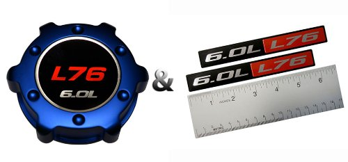 VMS RACING COMBO BLUE L76 6.0L OIL CAP in Billet Aluminum + (pack of 2) RED BLACK 6.0L Liter L76 Real Aluminum Engine Hood Emblem Badge Nameplate Crate Compatible with Pontiac G8 V8 Holden HSV