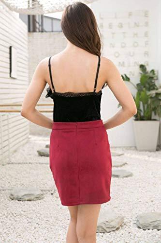 Lacet Femme Artificiel Jupe Rouge Cuir Uni Trapze Vineux en COMVIP Courte Slim Couleur t EwXRnxP
