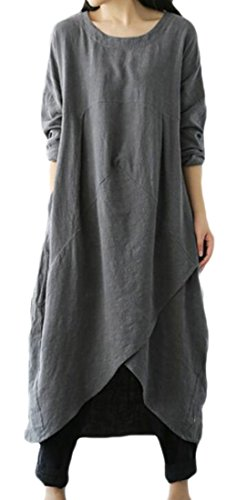 Women's Maxi Sleeve Linen Grey Cotton Casual Loose Irregular Dress Domple Solid Long HBfdqfx