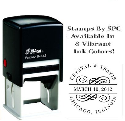 Stamps By SPC // Premium Quality Designer Custom Name Stamp // DESIGN: Names Date Location [SPC2PS], Impression: 1-5/8 x 1-5/8, Available In 8 Vibrant Colors of - Spc Locations
