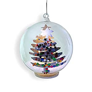 Glass Ball Ornament Light Up Glass Christmas Ornament With A Glittery Hand Painted Christmas Tree Design White Glitter Snow Inside With A Led