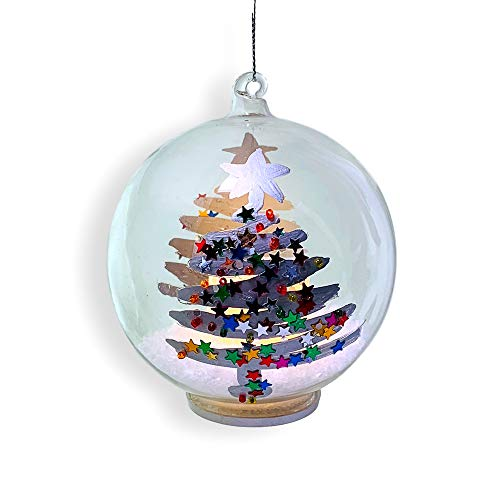 Glass Ball Ornament - Light Up Glass Christmas Ornament with a Glittery, Hand-Painted Christmas Tree Design - White Glitter Snow Inside with a LED Candle - Fun Confetti Glitter Xmas Tree