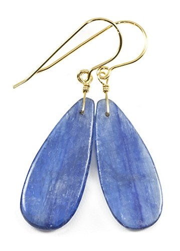 14k Yellow Gold Filled Blue Kyanite Earrings Smooth Teardrops Simple Casual Pear Dangle Drops 1.8