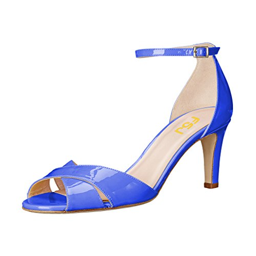 Fsj Vrouwen Tweedelige Solide Hakken Pumps Peep Toe Jurk Dansende Sandalen Voor Bruiloft Maat 4-15 Us Royal Blue
