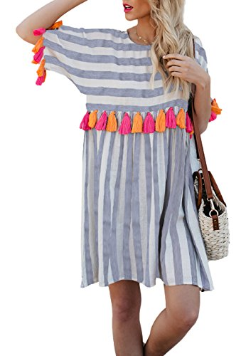 AINORS Womens Plus Size Casual Loose Round Neck Short Sleeved Striped Colorful Tassel Trim Dress