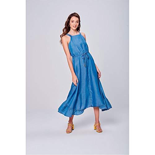 Vestido Jeans Longo Com Babado Na Barra Tam: G/cor: Blue