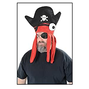 Club Pack of 12 Halloween Black, Orange and White One Eye Pirate Squid Hat 22""