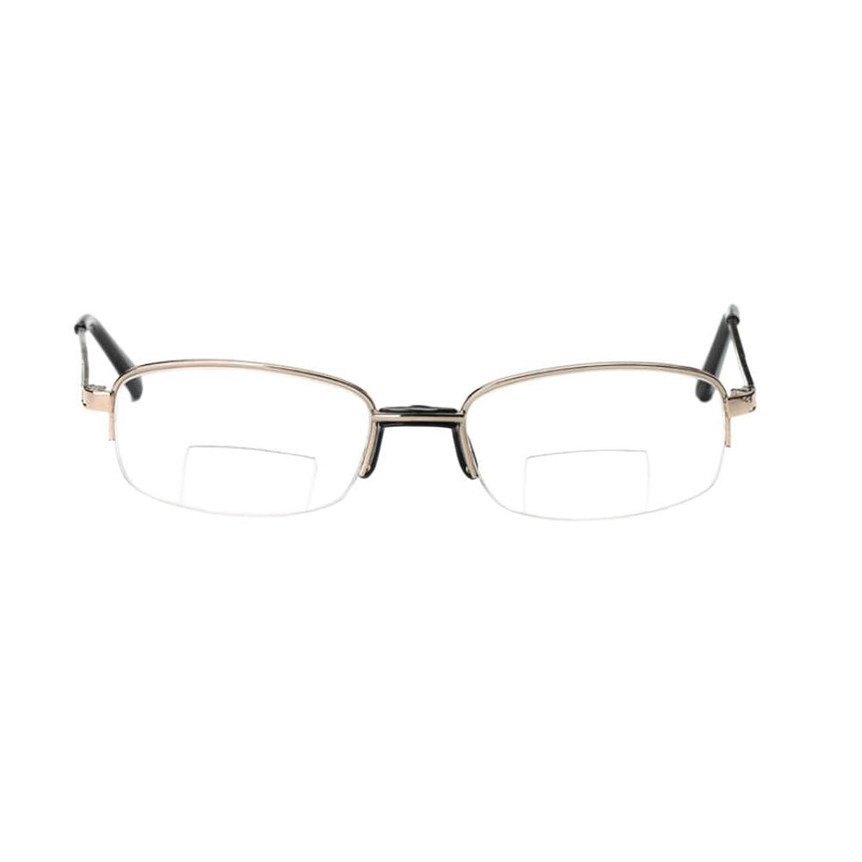Hzjundasi Occhiali da lettura full frame in metallo Occhiali da lettura doppio Forza facoltativa Da +1.00 a +4.00 7M8MwWc5nm