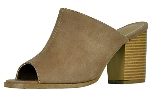Cambridge Select Women's Peep Toe Slip-On Backless Chunky Stacked Block Heel Mule (10 B(M) US, Taupe) (4 Inch Heel Mule)
