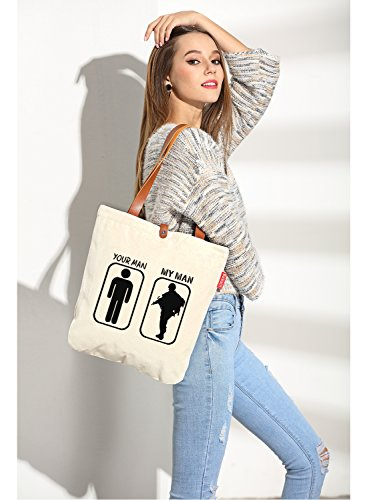 So'each Women's Your Man My Man Graphic Top Handle Canvas Tote Shoulder Bag