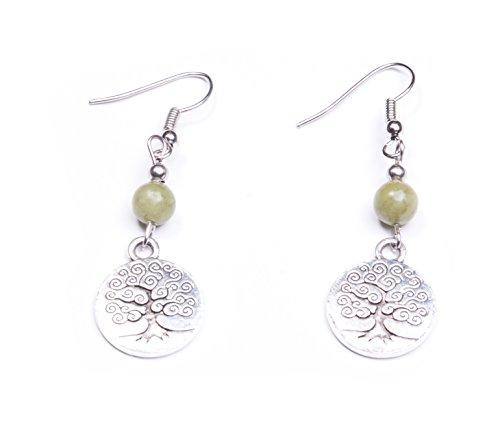 Small Connemara Marble Engraved Tree of Life Earrings, Handmade In Ireland ()