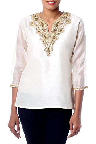 NOVICA Ivory Beaded Cotton and Silk Tunic, Morning Princess' -