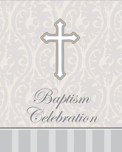 Creative Converting Devotion Cross Baptism Celebration Invitations, Silver, 24 Count